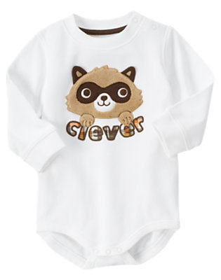White Clever Raccoon Bodysuit by Gymboree