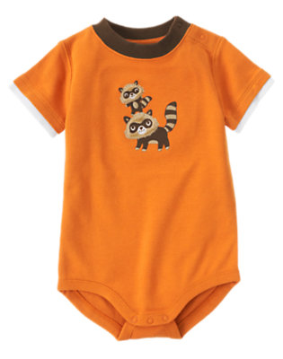 Autumn Orange Raccoons Bodysuit by Gymboree