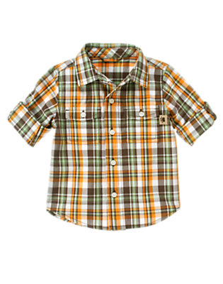 Autumn Orange Plaid Plaid Roll Cuff Shirt by Gymboree