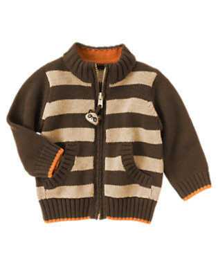 Raccoon Brown Stripe Stripe Zip Sweater by Gymboree