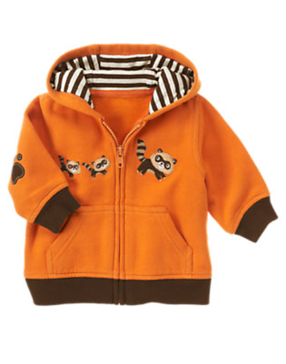 Autumn Orange Raccoon Hoodie by Gymboree