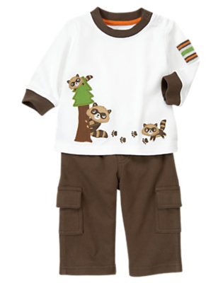 White/Raccoon Brown Raccoon Cargo Two-Piece Set by Gymboree