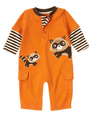Baby Autumn Orange Raccoon Double Sleeve One-Piece by Gymboree