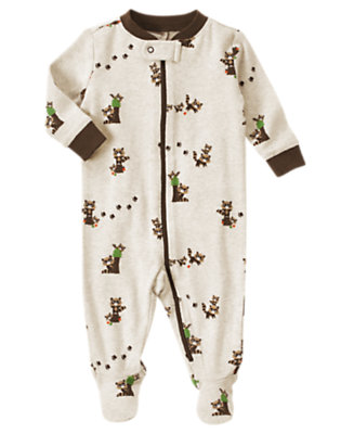 Raccoon Heather Raccoon Footed One-Piece by Gymboree