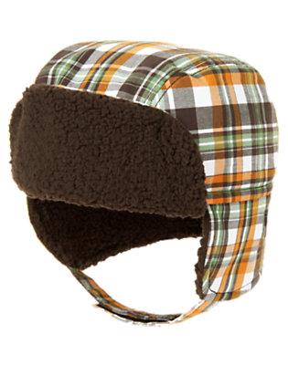 Baby Autumn Orange Plaid Plaid Earflap Hat by Gymboree