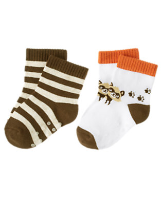Ivory/Raccoon Brown Raccoon Stripe Sock Two-Pack by Gymboree