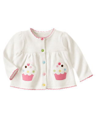 Ivory Cupcake Pocket Cardigan by Gymboree