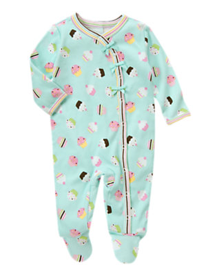 Baby Baby Blue Cupcake Cupcake Footed One-Piece by Gymboree