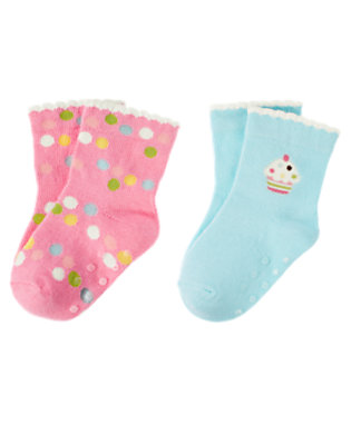 Baby Blue/Cupcake Pink Cupcake Dot Sock Two-Pack by Gymboree