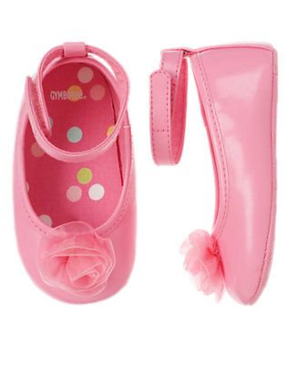Cupcake Pink Tulle Flower Crib Shoe by Gymboree