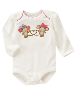 Ivory Girl Monkey Bodysuit by Gymboree