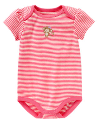 Bright Pink Stripe Girl Monkey Stripe Bodysuit by Gymboree