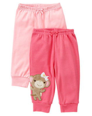 Candy Pink Girl Monkey Knit Pant Two-Pack by Gymboree