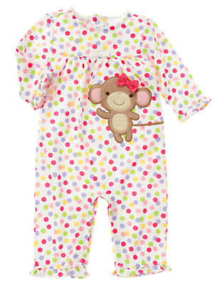 Candy Pink Dot Monkey Dot One-Piece by Gymboree