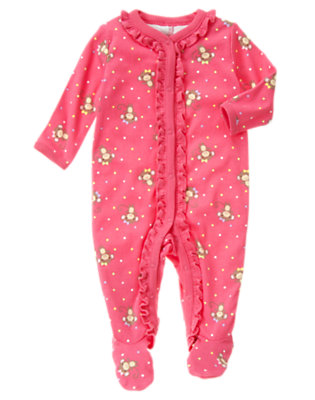 Bright Pink Monkey Dot Footed One-Piece by Gymboree