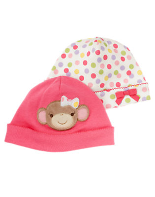 Bright Pink/Candy Pink Dot Girl Monkey Beanie Two-Pack by Gymboree