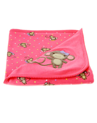 Bright Pink Girl Monkey Blanket by Gymboree