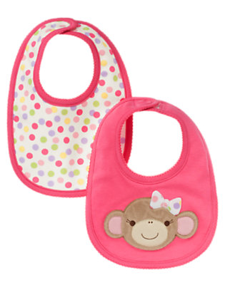 Bright Pink/Candy Pink Dot Girl Monkey Bib Two-Pack by Gymboree