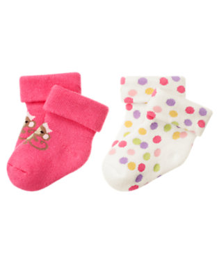 Bright Pink/Candy Pink Dot Girl Monkey Sock Two-Pack by Gymboree