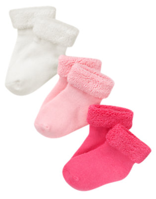 Ivory/Candy Pink/Bright Pink Girl Basic Sock Three-Pack by Gymboree