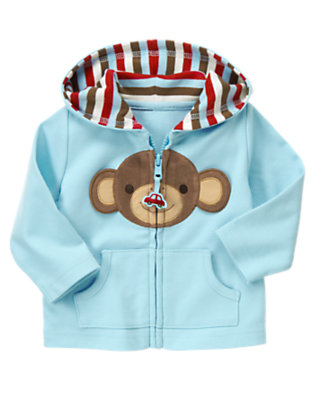 Dream Blue Boy Monkey Knit Hoodie by Gymboree