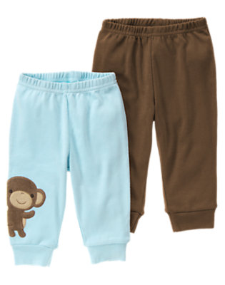 Baby Dream Blue/Monkey Brown Boy Monkey Knit Pant Two-Pack by Gymboree