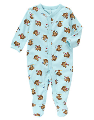 Dream Blue Monkey Car Footed One-Piece by Gymboree