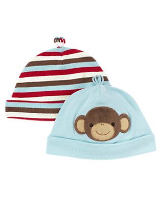 Baby Dream Blue Boy Monkey Beanie Two-Pack by Gymboree