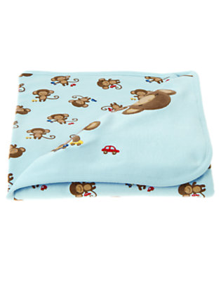Dream Blue Boy Monkey Blanket by Gymboree