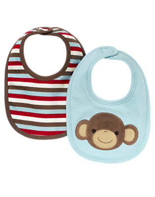 Dream Blue Boy Monkey Bib Two-Pack by Gymboree