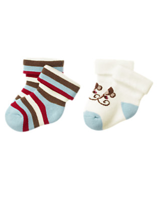 Baby Dream Blue Boy Monkey Sock Two-Pack by Gymboree