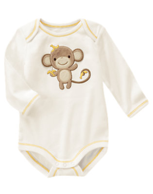 Baby Ivory Silly Monkey Bodysuit by Gymboree