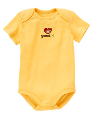 Banana Yellow I Heart Grandma Bodysuit by Gymboree