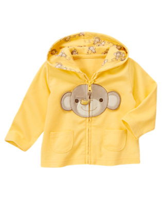 Baby Banana Yellow Monkey Knit Hoodie by Gymboree