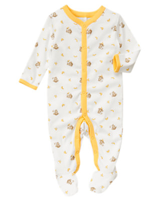 Baby Ivory Monkey Footed One-Piece by Gymboree