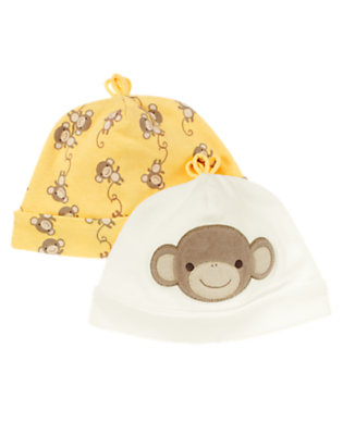 Ivory/Banana Yellow Monkey Beanie Two-Pack by Gymboree
