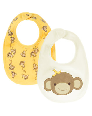 Ivory/Banana Yellow Monkey Bib Two-Pack by Gymboree