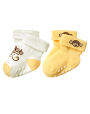 Ivory/Banana Yellow Monkey Sock Two-Pack by Gymboree