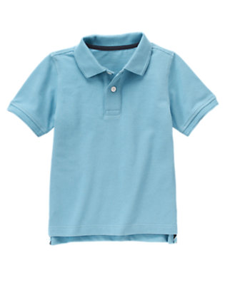 Boys Pale Blue Uniform Polo Shirt by Gymboree