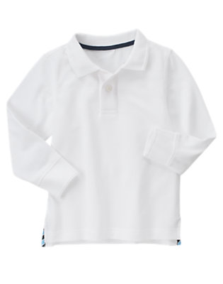 White Uniform Long Sleeve Polo Shirt by Gymboree