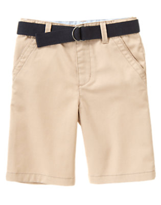 Boys Khaki Uniform Belted Short by Gymboree