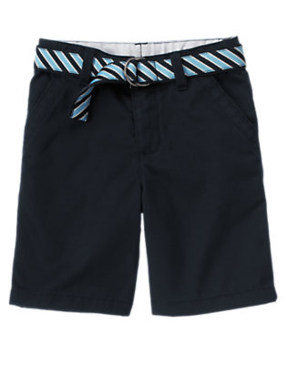 Boys Gym Navy Uniform Stripe Belted Short by Gymboree