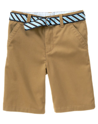 Camel Uniform Stripe Belted Short by Gymboree