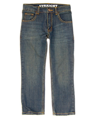 Boys Dark Wash Denim Straight Jean by Gymboree