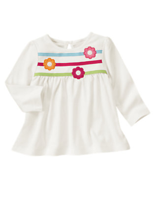 Ivory Flower Ribbon Swing Top by Gymboree