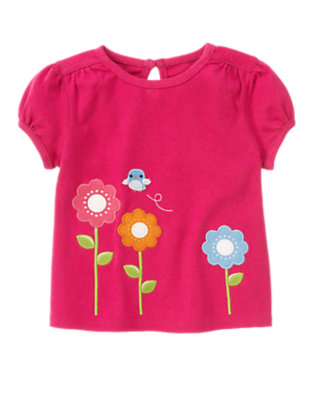 Berry Pink Bird And Flowers Tee by Gymboree