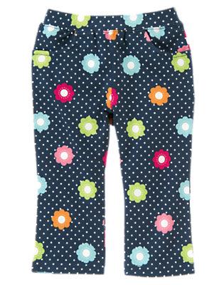 Toddler Girls Deep Blue Floral Dot Flower Dot Knit Pant by Gymboree
