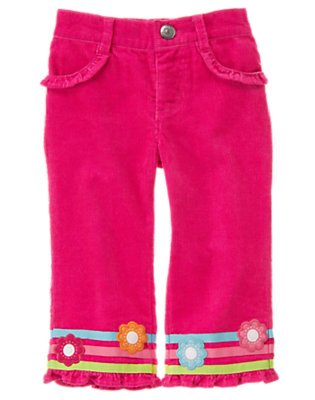 Berry Pink Flower Ribbon Corduroy Pant by Gymboree