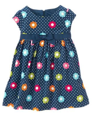 Toddler Girls Deep Blue Floral Dot Flower Dot Corduroy Dress by Gymboree