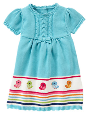 Sky Blue Bird Stripe Sweater Dress by Gymboree